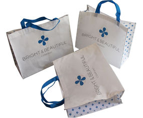 China White and Blue 85gsm Nonwoven Fabric Carrier Bags With Matt Coated,White Piping,Button,Blue Handle Resable & Durable Bag supplier