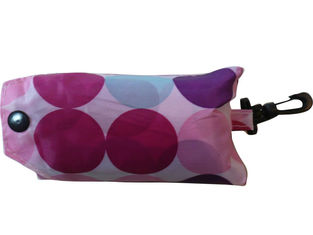 China Pink Dots Nylon Folded Strings Back Bag, Nylon Storage Bags With Buttons Closure supplier