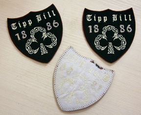 China Brown RPET Personalised Embroidered Badges Logo Shape Personized supplier