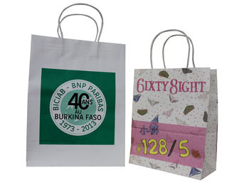 China Colorful Paper Carrier Bag Recycle With Twist Paper Handles white craft Paper CMYK printing distributor