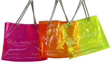 China PVC Reusable Transparent Fabric Carrier Bags With Customized Logo distributor