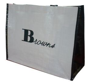 China OEM Printing Browns Whte / Black PP Woven Fabric Shopping Bag Environment Friendly factory