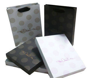 China Customized logo250g Gift Paper Box, folded Style Printing Gold Ribbon Handle distributor