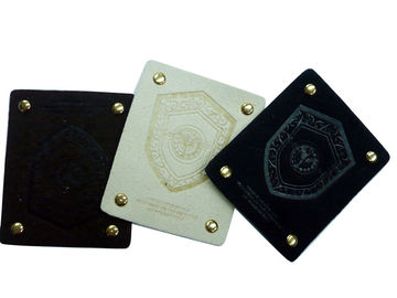 China White / Black Embossed Leather Patches With Mental For Garment, Suitcase, Bags factory