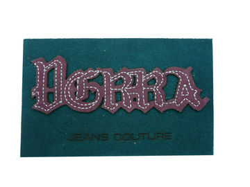 China Green Embossed PU Leather Patch With Embroidery Effect For Garment, Suitcase. factory