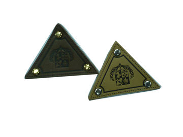 China Triangle / Square Embossed Leather Patches, Jeans Patch With Customized Logo factory