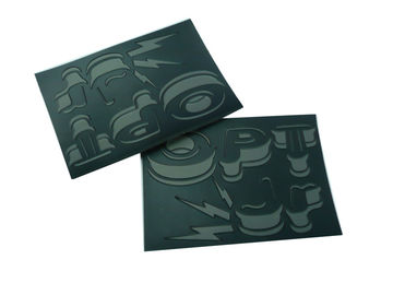 China Black PU leather Patches, Jeans Patch With Embossed Pattern For Garment factory