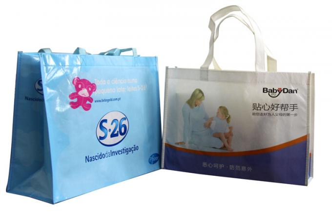 Light Blue PP Woven Shopping Bags for Baby Products recycle waterproof