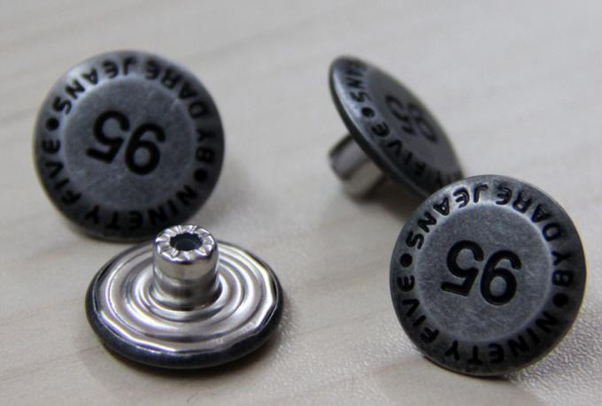Zinc Alloy Custom Clothing Buttons Round Odd Font Black Oil For Garments
