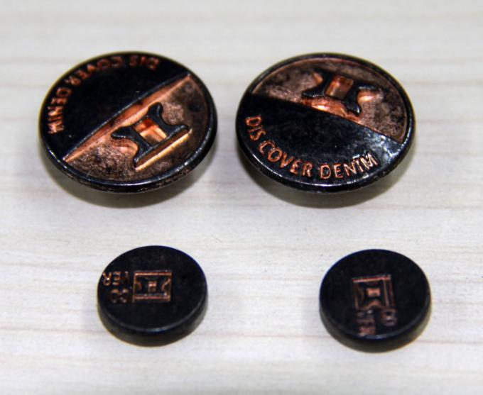 Reusable / Portable Custom Clothing Buttons Embossed Brass , Colorful