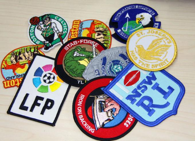 PU Leather Embroidered Custom Sew On Patches RPET Fabric Plain Back.